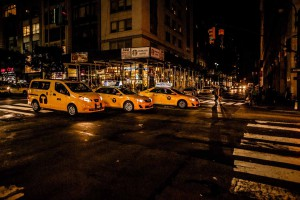 New York Three Yellow Caps Night