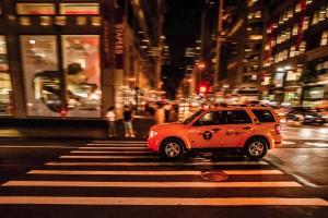 New York City at Night Yellow Cab