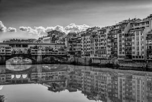 Italy Tuscany black&white Florence Arno River
