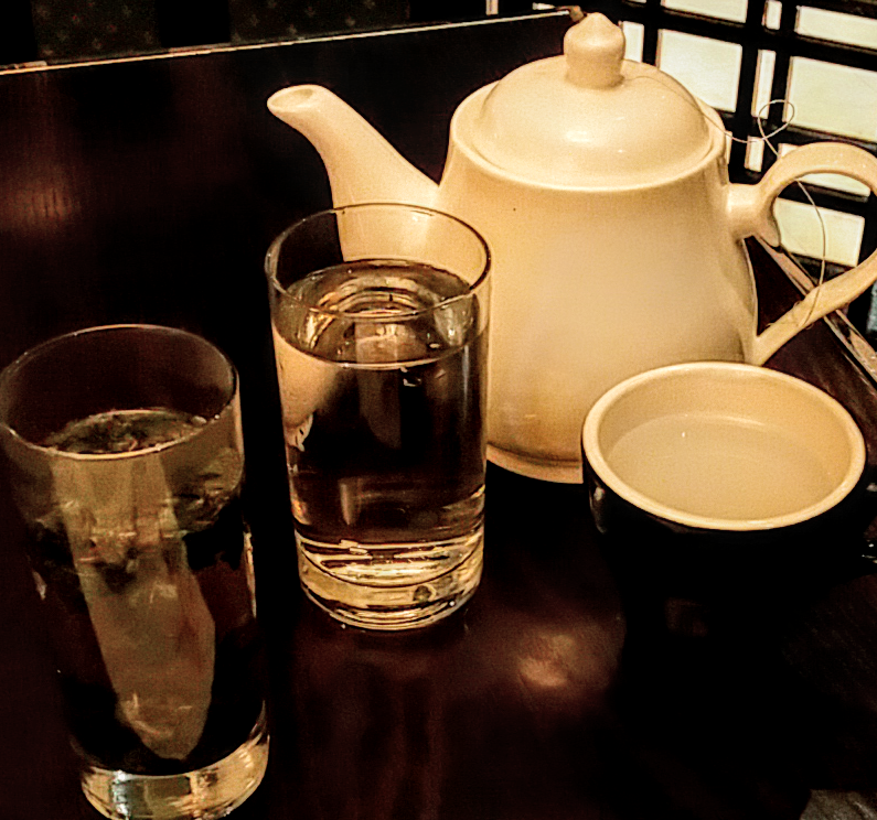 To drink: Green tea, cold and hot water